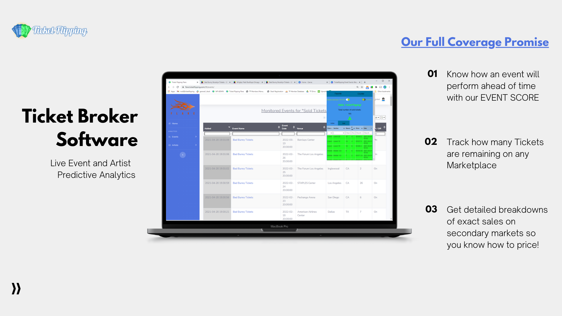 Ticket Broker Software – Ticket Sales and Live Event Analytics by Ticketflipping